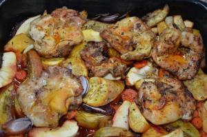 Kuřecí maso s červenou řepou a batáty