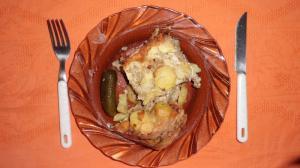 Zapečené brambory s mletým bůčkem